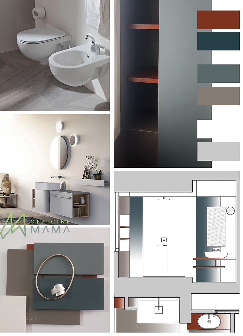 Moodboard di un bagno con materiali di officineMAMA