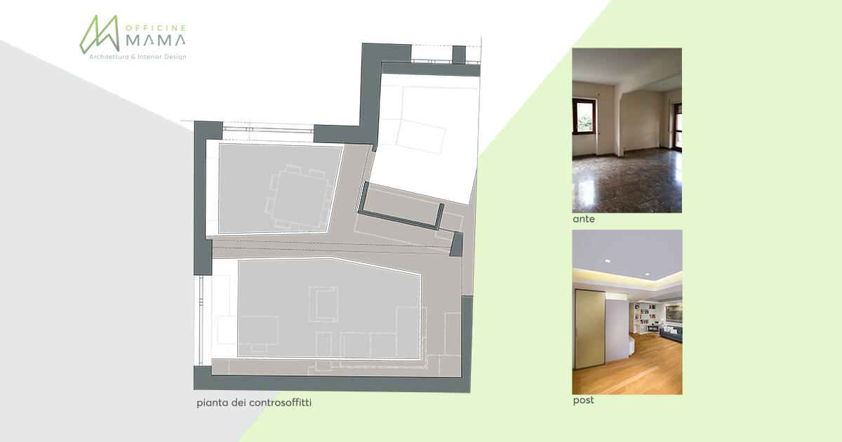 Pianta e immagini del progetto di controsoffittodi casa Triste by officineMAMA