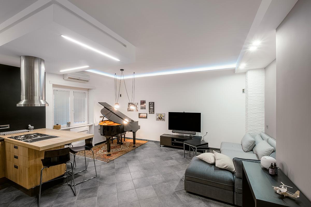 Casa del Pianista - Open space salone e cucina